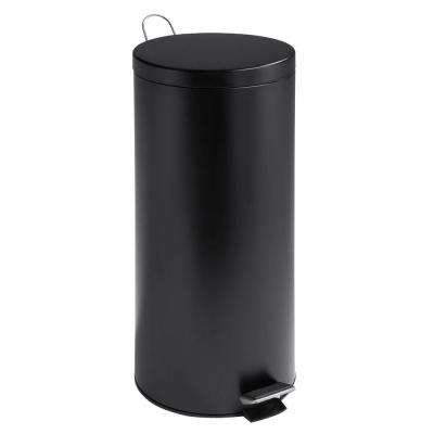 30 l Matte Black Round Metal Step-On Touchless Trash Can with Bucket