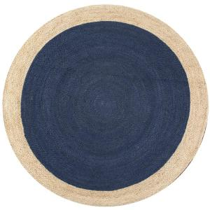 Eleonora Farmhouse Bordered Jute Blue 6 ft. Round Rug