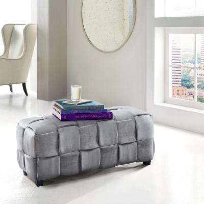 Raven Gray Velvet Contemporary Long Ottoman