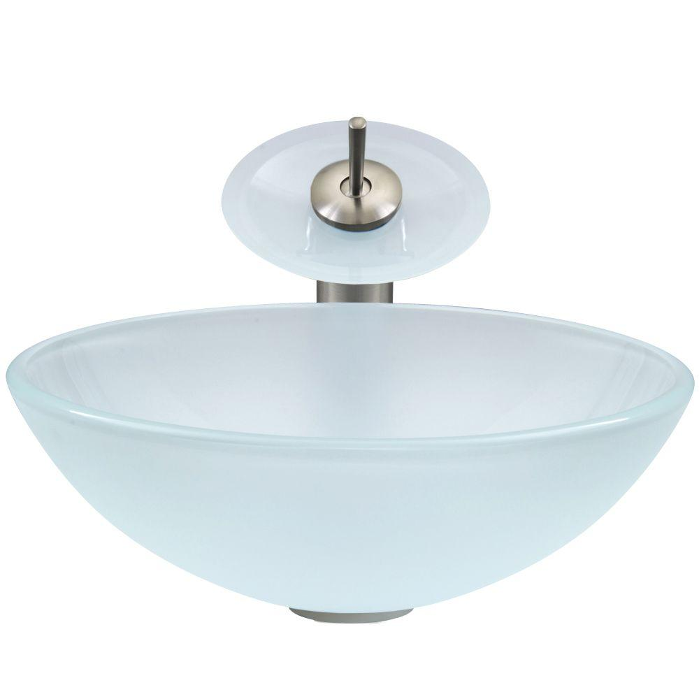 Vigo Gl Vessel Sink In White Frost With Waterfall Faucet Set Brushed Nickel