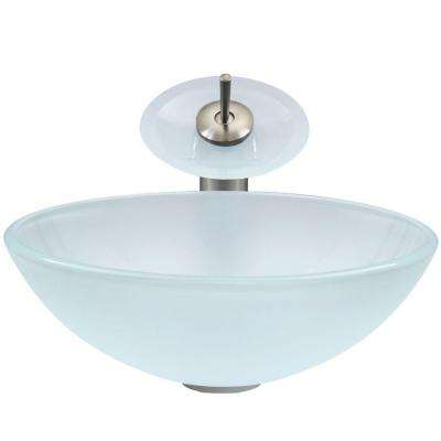 Glass Vessel Sink in White Frost with Waterfall Faucet Set in Brushed Nickel