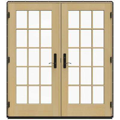 72 in. x 80 in. W-4500 Black Clad Wood Left-Hand 15 Lite French Patio Door w/Unfinished Interior