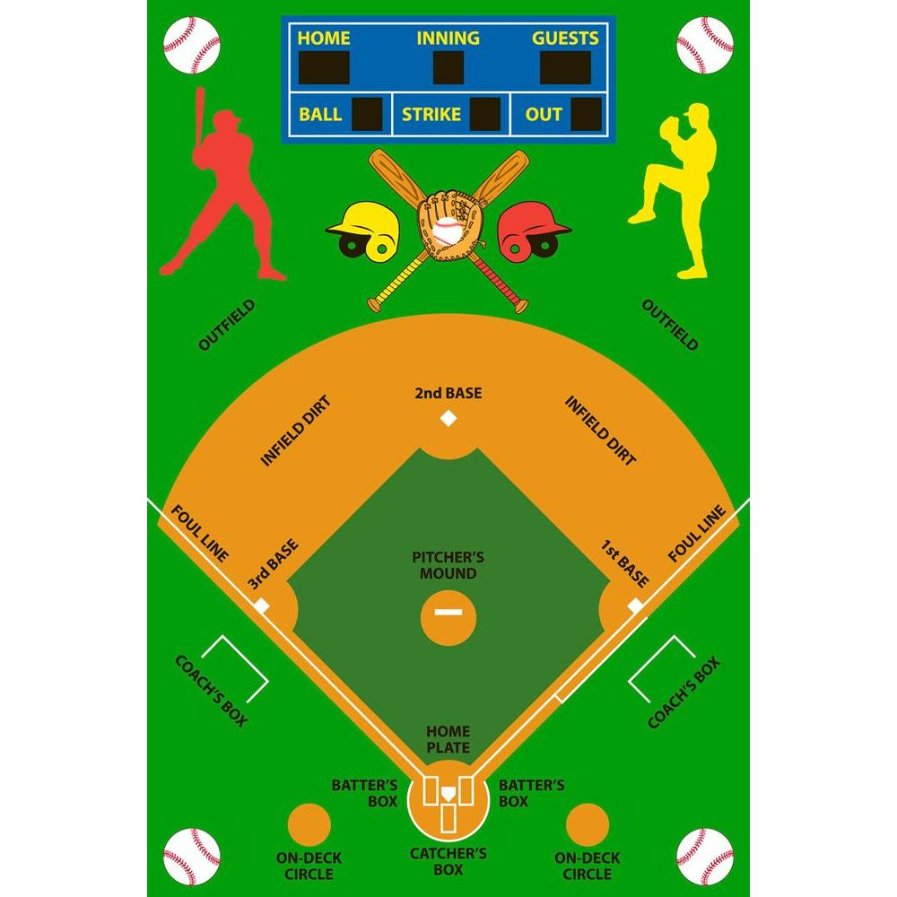 La Rug Fun Time Baseball Field Multi Colored 3 Ft X 5 Area