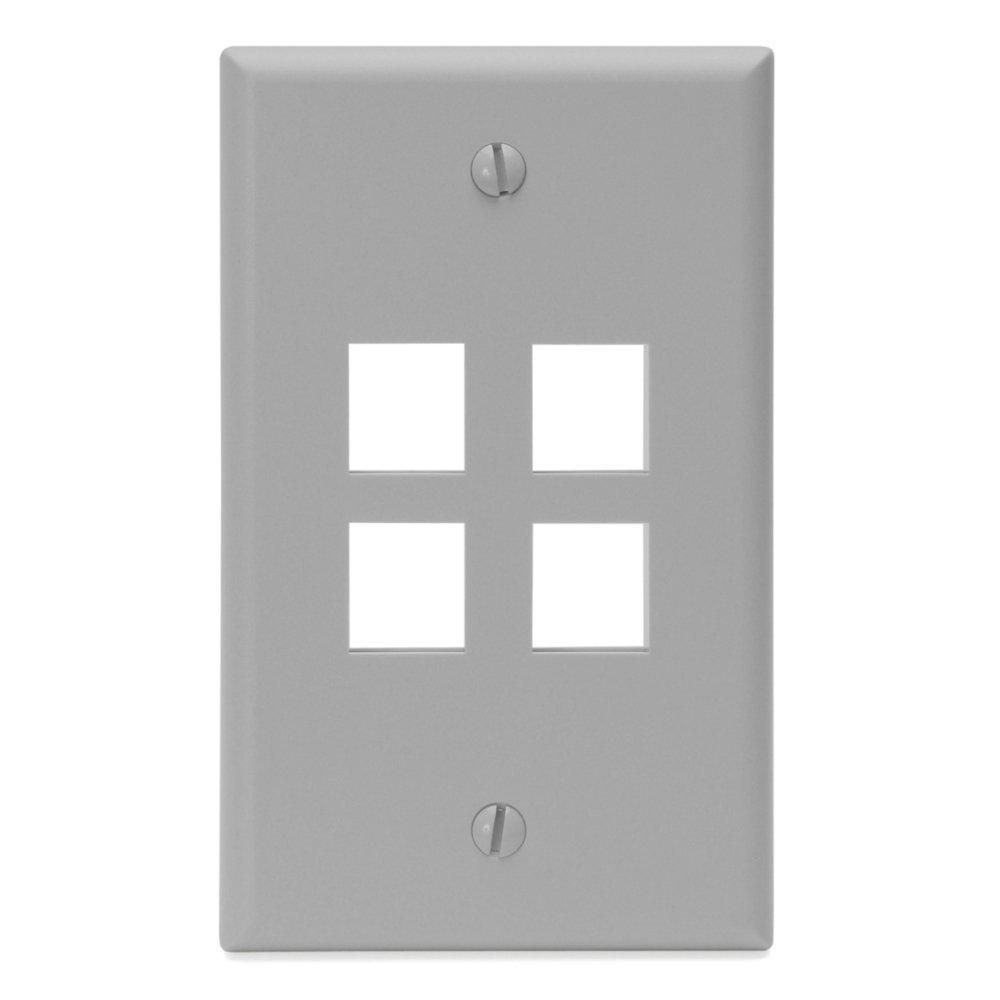 1-Gang QuickPort Standard Size 4-Port Wallplate, Gray