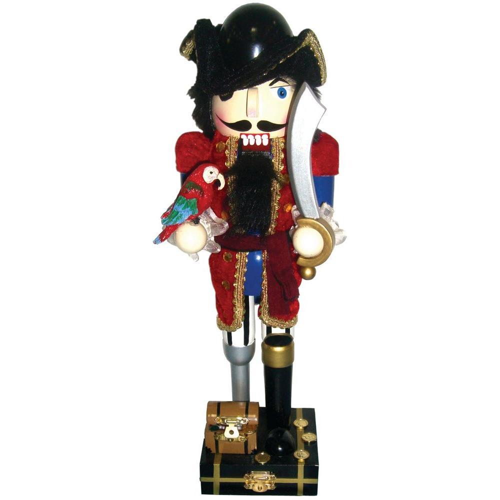 Red Coat Peg Leg Pirate Nutcracker With Parrot