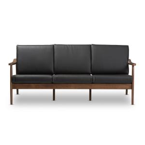 Venza Black and Walnut Brown Faux Leather Sofa
