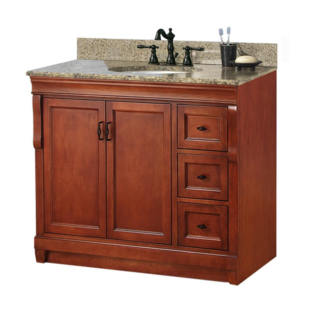 Foremost Naples 37 in. W x 22 in. D Bath Vanity n Warm Cinnamon with Right Drawers with Granite Vanity Top in Quadro