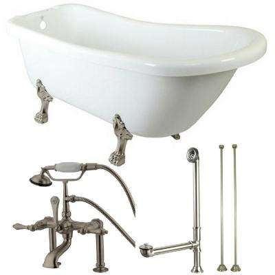 Slipper 5.6 ft. Acrylic Clawfoot Bathtub in White and Faucet Combo in Satin Nickel