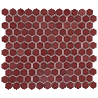Tribeca 1 in. Hex Glossy Rusty Red 11-7/8 in. x 10-1/4 Porcelain Mosaic Floor and Wall Tile (8.65 sq. ft./Case)