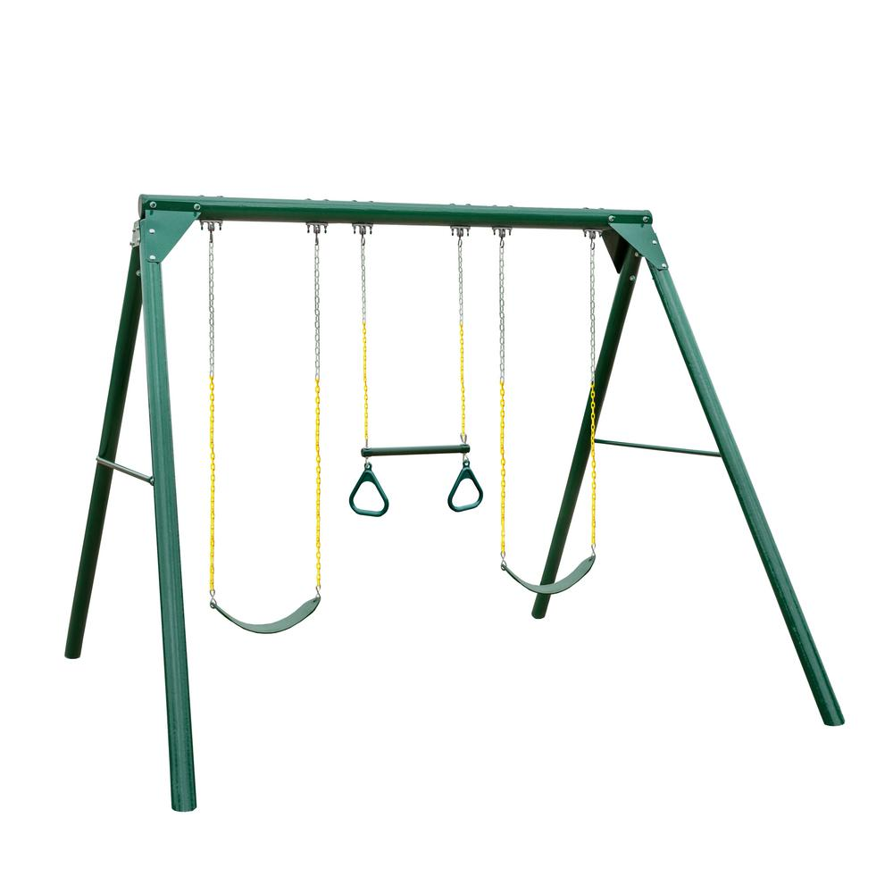 Gorilla Playsets Roundabout Wood Guard Swing Set with 2 Belt Swings and  Trapeze Bar