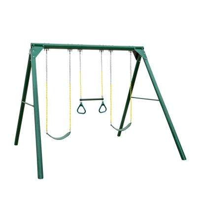 Roundabout Wood Guard Swing Set with 2 Belt Swings and Trapeze Bar