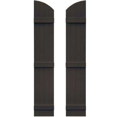 14 in. x 77 in. Board-N-Batten Shutters Pair, 4 Boards Joined with Arch Top #010 Musket Brown
