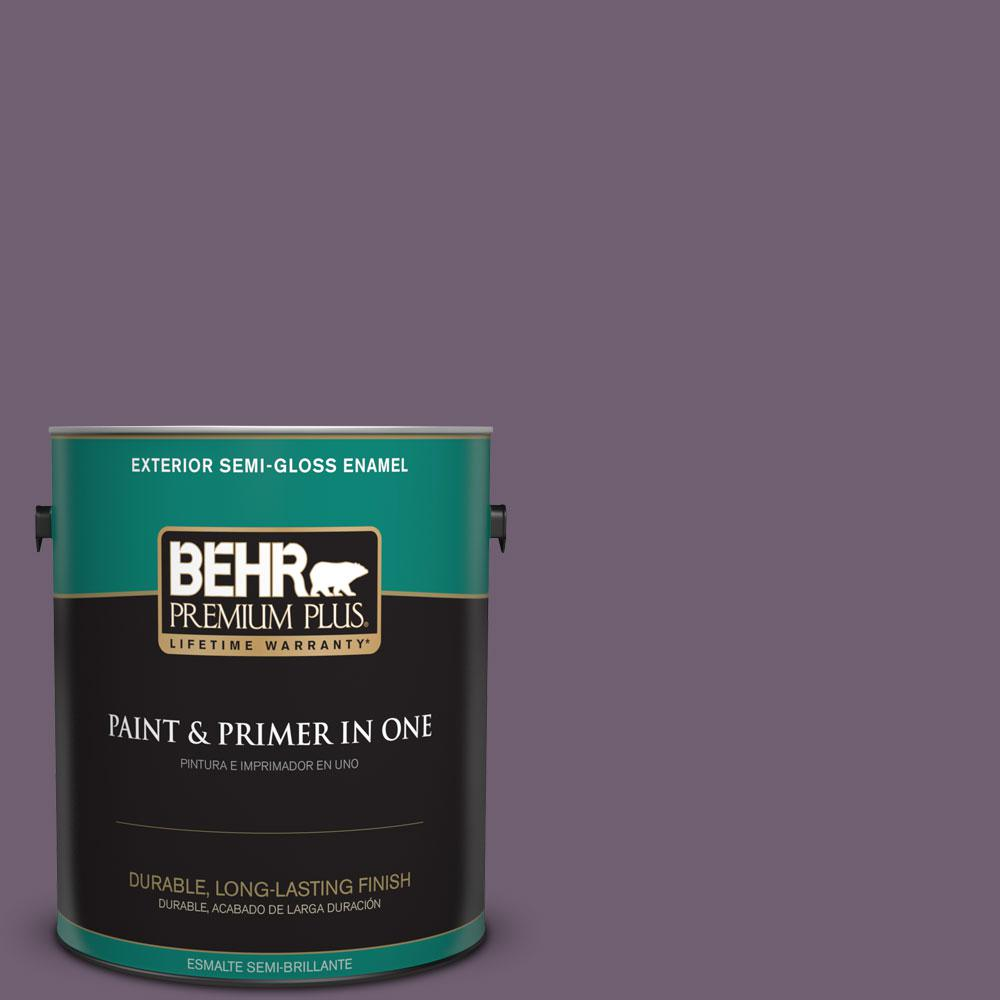 BEHR Premium Plus 1-gal. #S100-6 Blackberry Jam Semi-Gloss Enamel Exterior Paint