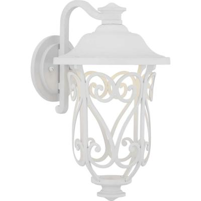 Leawood Collection 1-Light White Outdoor Integrated LED Wall Lantern Sconce