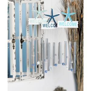 Light Blue, Blue and Dark Blue Aluminum and Wood Welcome Wind Chimes (Set of 3) by