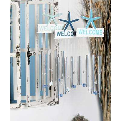 Light Blue, Blue and Dark Blue Aluminum and Wood Welcome Wind Chimes (Set of 3)