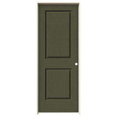 32 in. x 80 in. Cambridge Juniper Stain Left-Hand Solid Core Molded Composite MDF Single Prehung Interior Door
