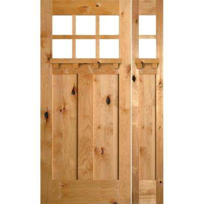 50 in. x 80 in. Craftsman Knotty Alder 2 Panel 6 Lite DS Unfinished Left-Hand Inswing Prehung Front Door/Right Sidelite