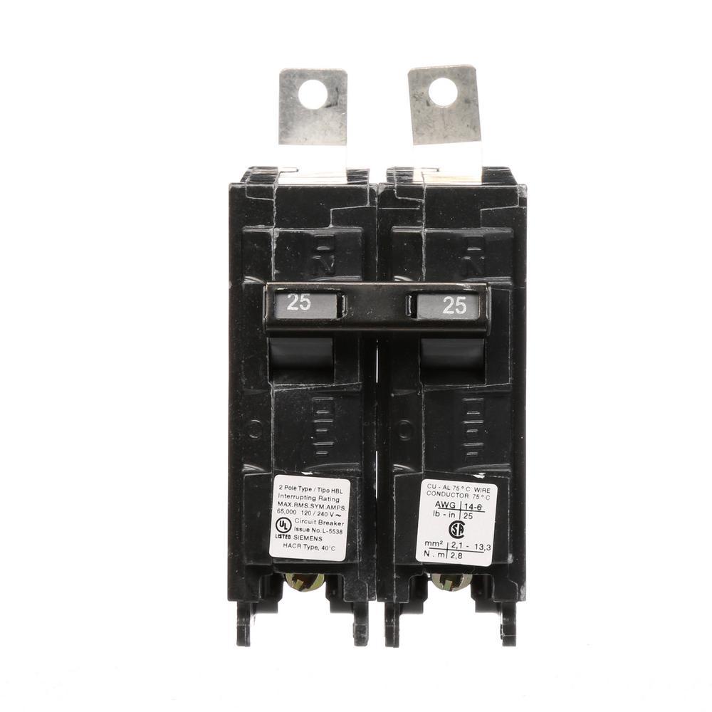 siemens 25 amp 2 pole type hbl 65 ka circuit breaker b225hh the home depot. Black Bedroom Furniture Sets. Home Design Ideas