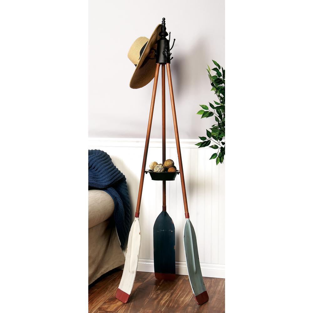 69 in. Vintage Nautical Style Standing Iron Coat Rack