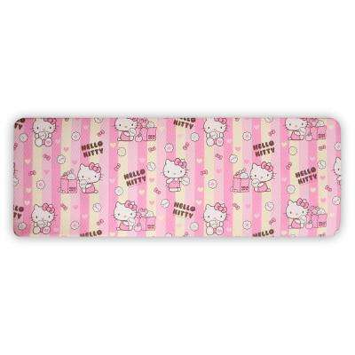 HK Pink and Yellow 49.21 in. x 17.32 in. Double Sided PVC Kitchen Mat