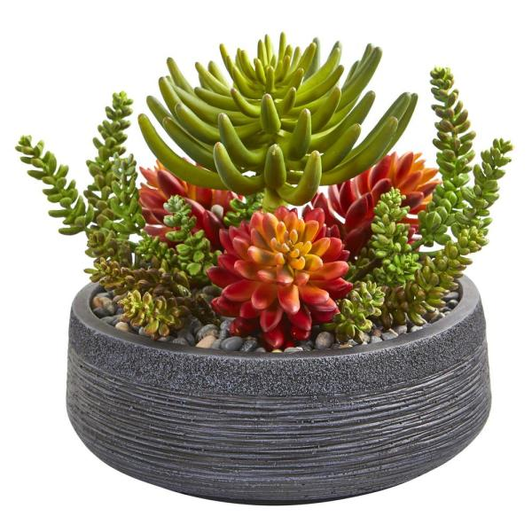 Nearly Natural Indoor 12 Succulent Garden Artificial Plant in Bowl 8477