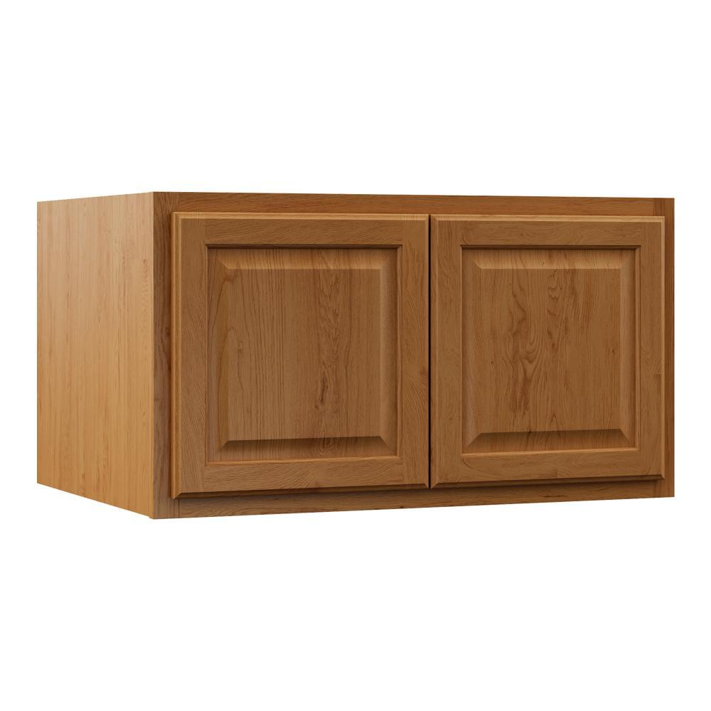 Hampton Assembled 36x18x24 in. Above Refrigerator Deep Wall Bridge Kitchen Cabinet in Medium Oak