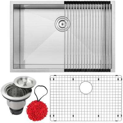 Pacific Zero Radius Undermount 16-Gauge Stainless Steel 28 in. Single Basin Kitchen Sink with Accessory Kit