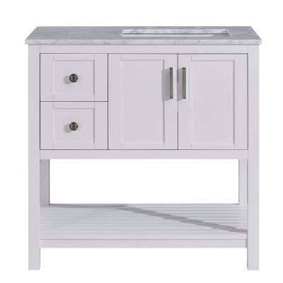 36 in. W x 22 in. D Bath Vanity in White with Marble Vanity Top in Carrara White with White Basin