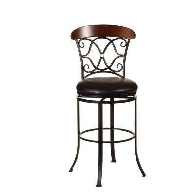 Dundee 30 in. Dark Coffee Swivel Cushioned Bar Stool