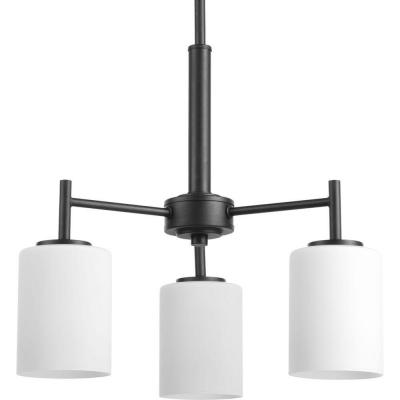 Replay 3-Light Black Chandelier with Etched White Glass