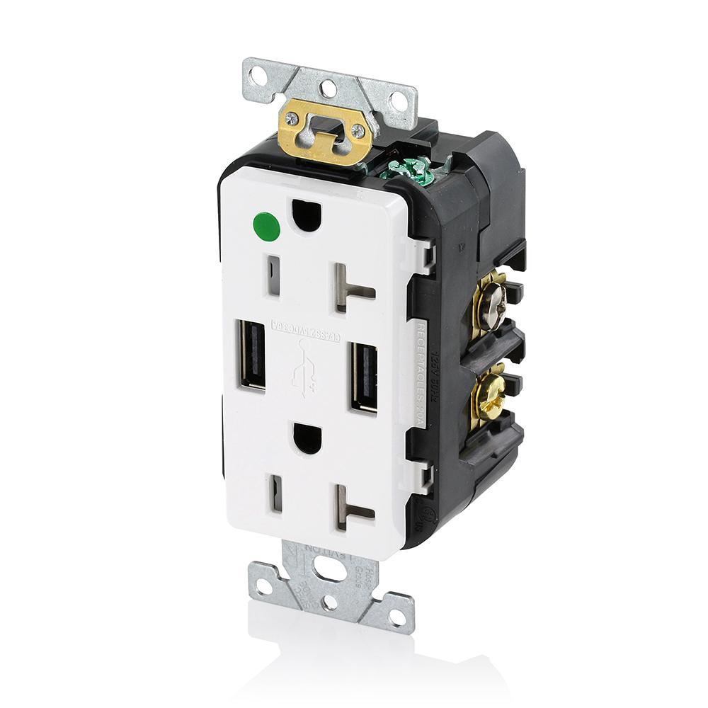 Decora 20 Amp Hospital Grade Tamper Resistant Duplex Outlet and 3.6 Amp USB Outlet, White