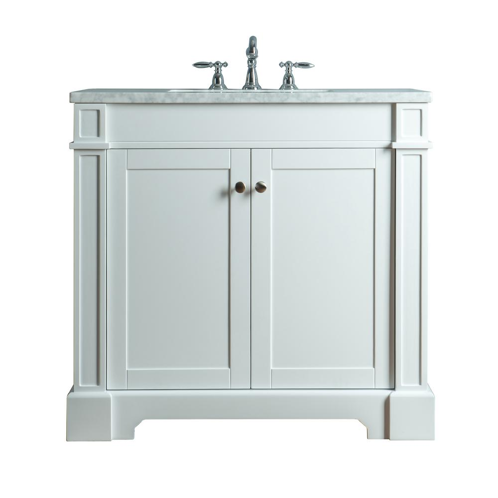 stufurhome Seine 36 in. W x 22 in. D Bath Vanity in White with Marble Vanity Top in Carrara White with White Basin