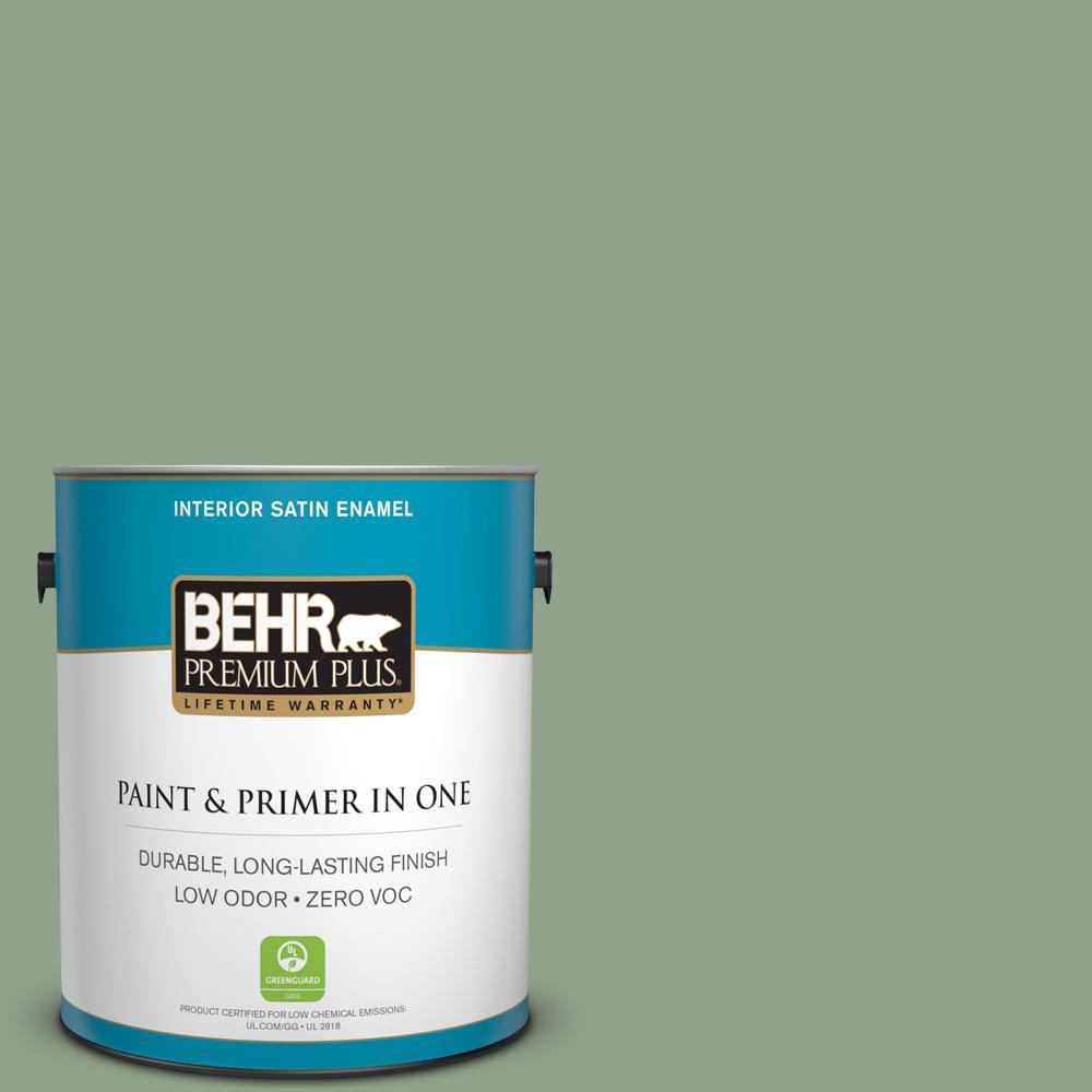 1-gal. #440F-4 Athenian Green Zero VOC Satin Enamel Interior Paint