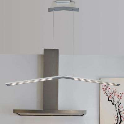 33W Haeidi Collection 43 in. Silver Integrated LED Adjustable Modern Linear Chandelier