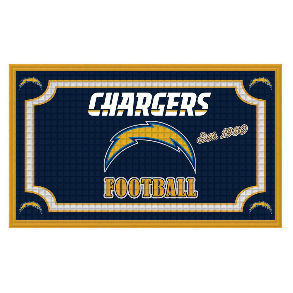 new product e2327 44c9e Evergreen Los Angeles Chargers 18 in. x 30 in. Embossed Welcome Mat