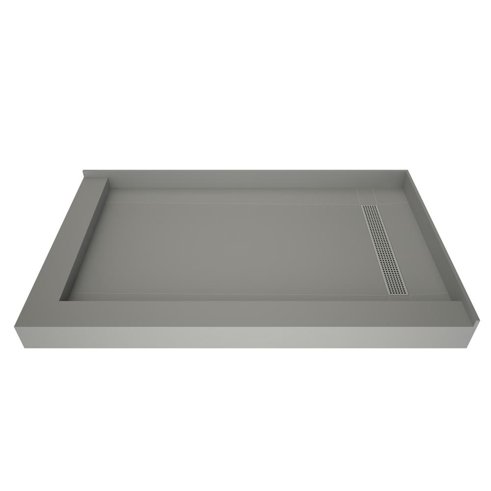 Tile Redi Redi Trench 36 in. x 72 in. Double Threshold Shower Base with Right Drain and Polished Chrome Trench Grate