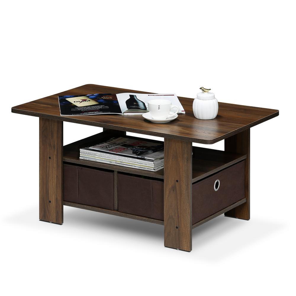 Home Living Columbia Walnut/Dark Brown Bin Drawer Coffee Table