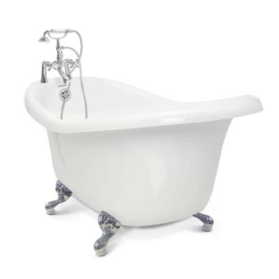 Chelsea 60 in. Acrylic Slipper Clawfoot Bathtub Package in White with Chrome Imperial Feet and Deck Mount Faucet