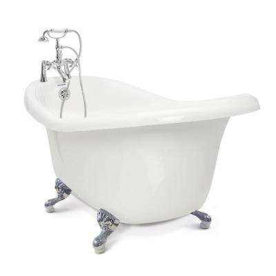 Acrylic Slipper Clawfoot Bathtub Package in White with Chrome Imperial Feet  and Bathtubs Freestanding The Home Depot