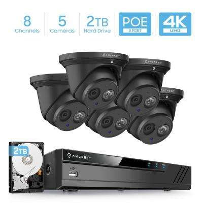4K 8-Channel 2TB HDD NVR Surveillance System with (5) x 8MP Metal Turret Dome POE IP Cameras, IP67 Weatherproof (Black)
