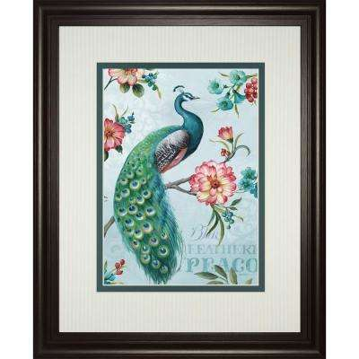 """34 in. x 40 in. """"Blue Feather Peacock"""" by Lisa Audit Framed Printed Wall Art"""