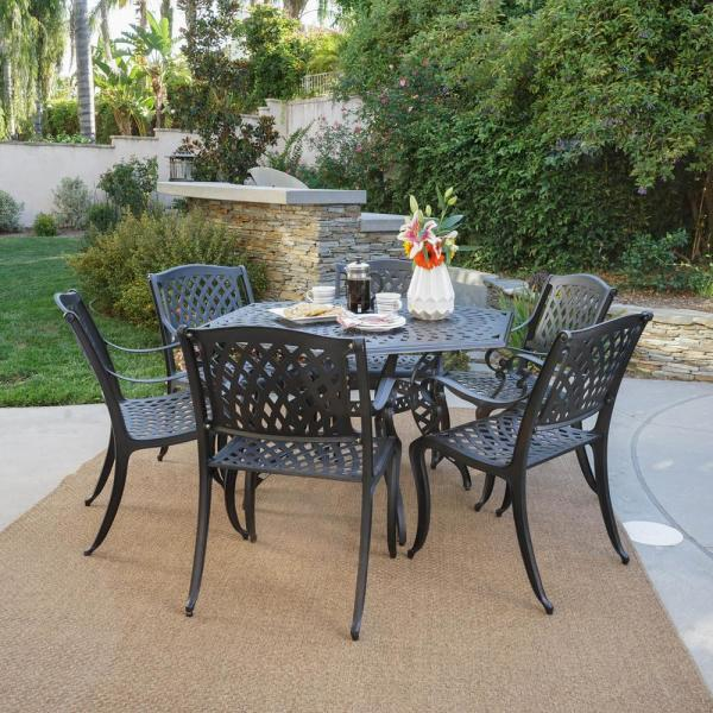 Noble House Hallandale Black Sand 7 Piece Aluminum Outdoor Dining Set 23018 The Home Depot