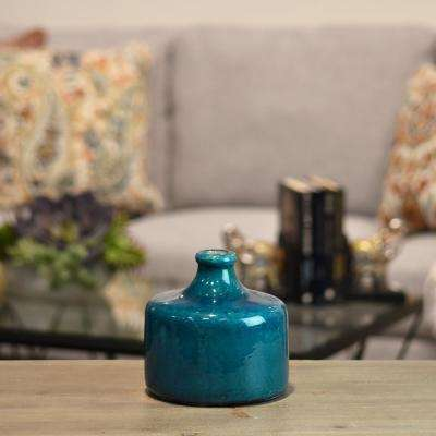 Turquoise Gloss Distressed Ceramic Decorative Vase