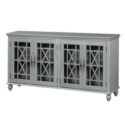 Harper's Branch Aged Grey Large Accent Cabinet with Framed Doors