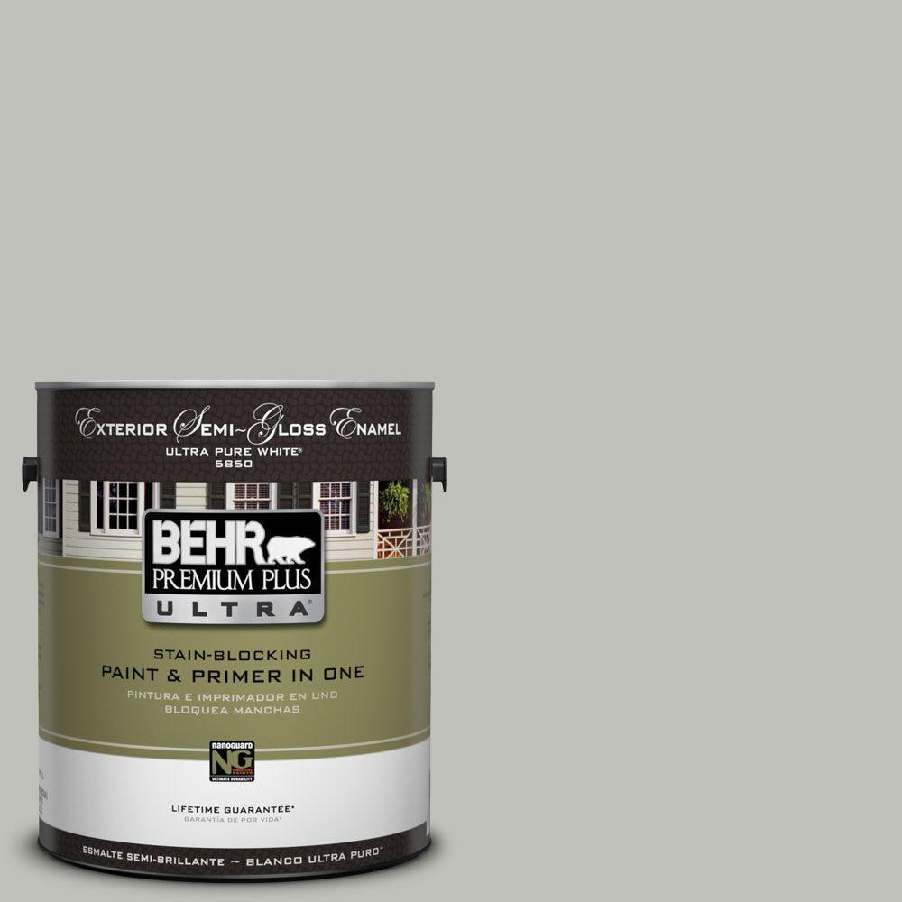 BEHR Premium Plus Ultra 1-Gal. #UL210-8 Silver Sage Semi-Gloss Enamel Exterior Paint