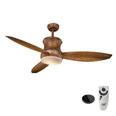 Hi-Wind 52 in. LED Distressed Koa Ceiling Fan with Light Kit Works With Google Assistant and Alexa
