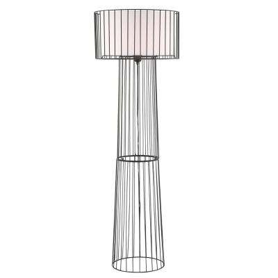 60 in. Black Floor Lamp with White Fabric Shade