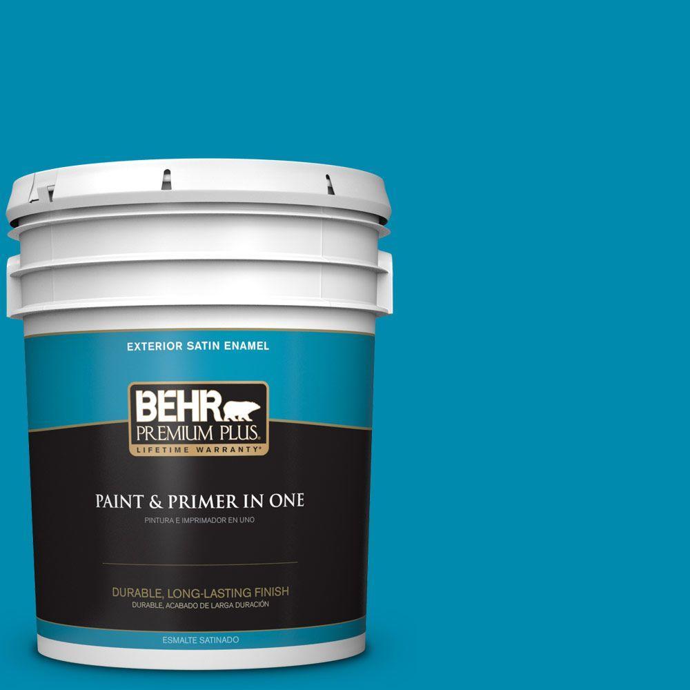 BEHR Premium Plus 5-gal. #530B-7 Riviera Paradise Satin Enamel Exterior Paint