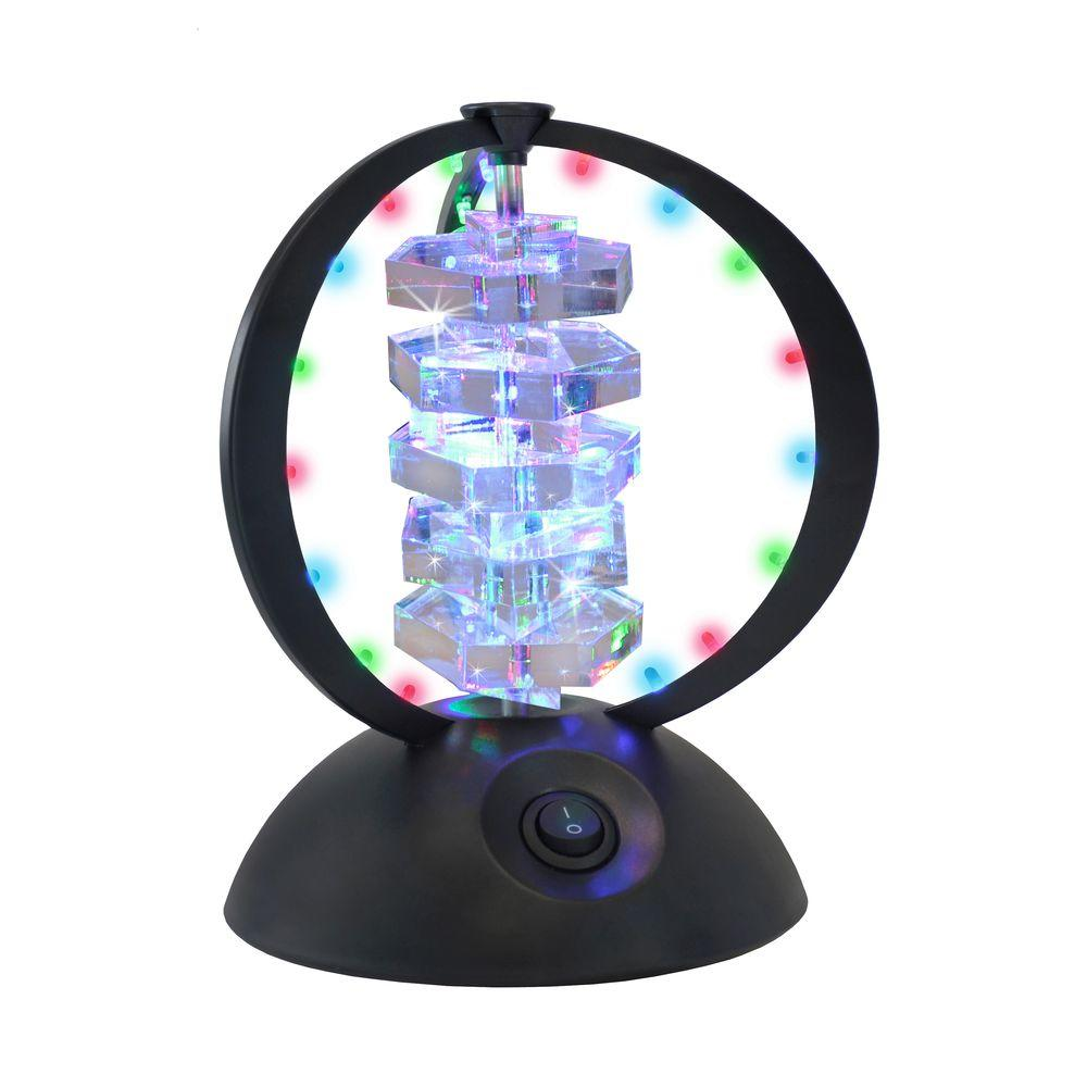 Lumisource 8.75 in. Disco Crystal Black HEX Party Table Lamp-DISCONTINUED